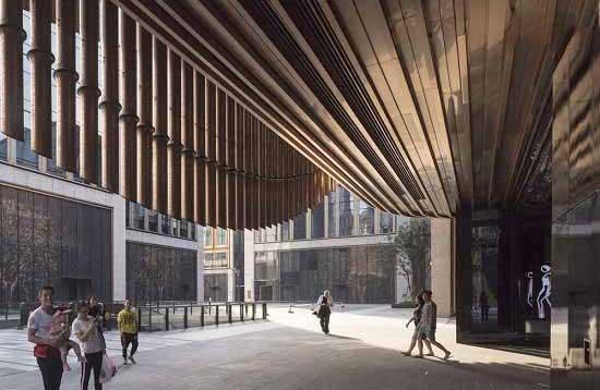 ساختمان مدرن با نمای متحرک در شهر قدیمی شانگهای