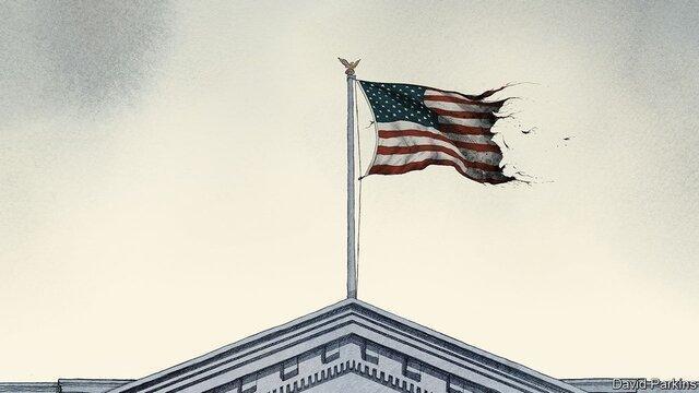 انتشار تصویر پرچم پاره آمریکا بر فراز کاخ سفید از سوی نشریه اکونومیست
